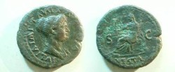 Ancient Coins - Julia Titi Æ Dupondius.  S-C either side of Vesta enthroned left holding Victory, VESTA in ex.