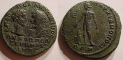 Ancient Coins - Macrinus and Diadumenian, 217 - 218 AD. AE-26.Marcianopolis, Moesia Inferior. Apollo, naked.