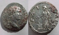 Ancient Coins - Hadrian Fourée  Denarius. Salus standing left.Rare.VF