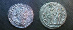 Ancient Coins - Gallienus Billon Antoninianus.  VIRTVS AVGG, Valerian and Gallienus standing facing each other.