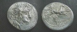 Ancient Coins - D Junius Silanus AR Denarius,  91 BC.  Victory in biga right, holding reins in both hands, number above, D SILANVS L F below, ROMA in ex.