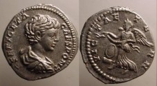 Ancient Coins - Geta Denarius.Victory flying left, crowning sheild with wreath.
