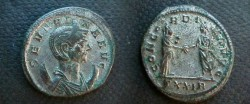 Ancient Coins - Severina Billon Antoninianius.  CONCORDIA AVGG, Aurelian and Severina standing with clasped hands.