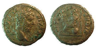 Ancient Coins - Septimius Severus Denarius.  RESTITVTOR VRBIS, Roma seated left holding palladium & spear, round sheild below.