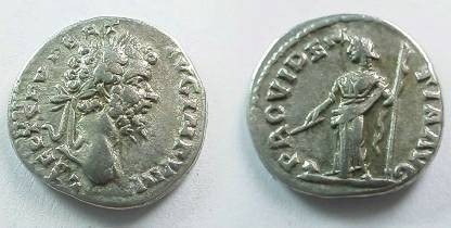 Ancient Coins - Septimus Severus Denarius,  196-7 AD.  PROVIDENTIA AVG, Providentia standing left with wand over orb & scepter in other hand.