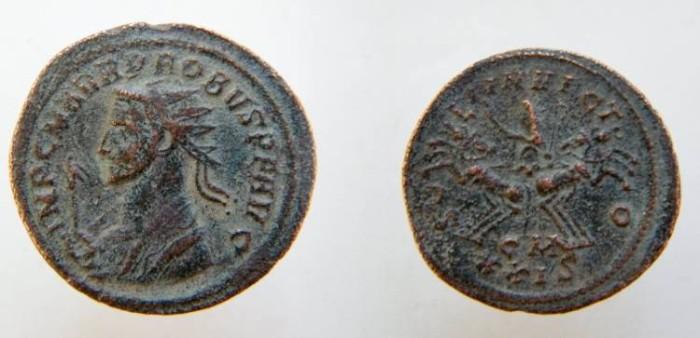 Ancient Coins - Probus AE Antoninianus. SOLI INVICTO, Sol in spread quadriga, holding whip,