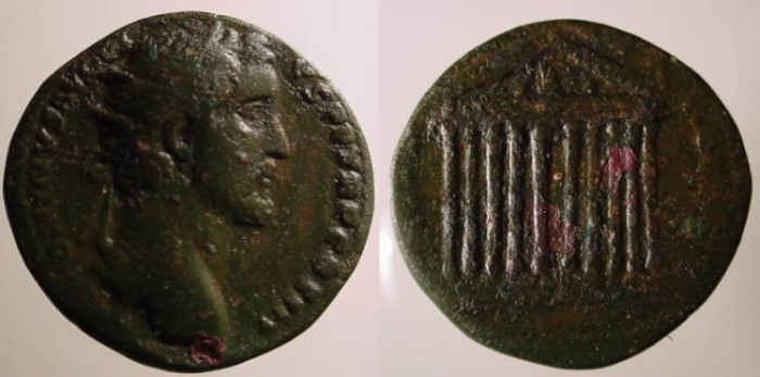 Ancient Coins - Antoninus Pius AE Dupondius.Decastyle temple, statues on roof and in pediment.BEAUTIFUL GGEEN PATINA.Scarce.