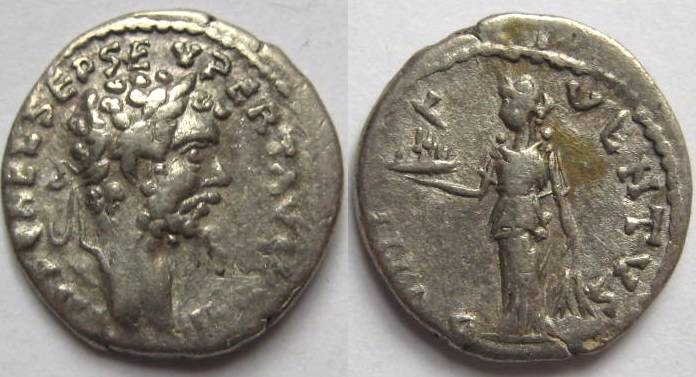 Ancient Coins - Septimius Severus denarius. Emesa mint.BONI E-V-ENTVS, Bonus Eventus standing left hold platter of fruits .Rare