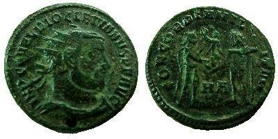 Ancient Coins - Diocletian AE Post Reform Radiate.  CONCORDIA MILI-TVM, Diocletian standing right in military dress, receiving Victory on globe from Jupiter leaning on scepter, HA between.