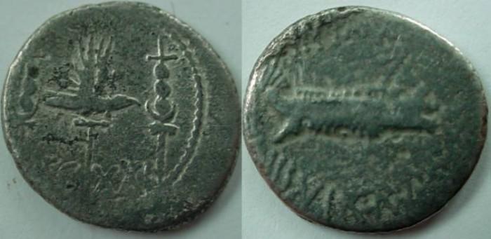 Ancient Coins - Mark Antony Legionary Denarius. 32-31 BC. Praetorian galley right / LEG XXI