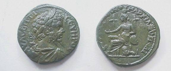 Ancient Coins - Septimius Severus AE27 of Marcianopolis, Moesia Inferior.  Cybele seated left on a high-backed throne, arm resting on a drum, two lions at her sides.