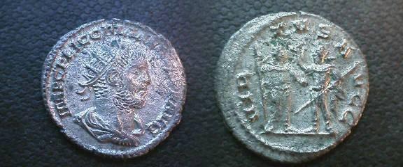 Ancient Coins - Gallienus Billon Antoninianus.  VIRTVS AVGG, Valerian and Gallienus standing facing each other.