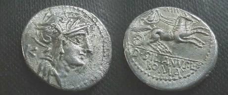Ancient Coins - D Junius Silanus AR Denarius,  91 BC.  Victory in biga right, holding reins in both hands, number above, D SILANVS L F below, ROMA in ex.