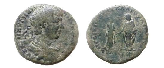 Ancient Coins - Caracalla AE30 of Augusta Traiana, Thrace.  Plautilla & Caracalla standing facing each other, clasping hands.