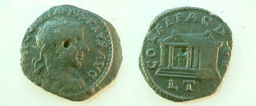 Ancient Coins - Gordian III AE23 of Deultum, Thrace.  COL F L PAC DEVLTVM, diagonal view of front & side of shrine with peaked roof, Aesklepios within leaning on serpent staff.