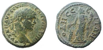 Ancient Coins - Caracalla AE267mm of Odessos, Thrace.  Great God or Serapis standing left holding patera over altar before him & corucopiae.