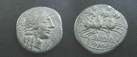 Ancient Coins - Q Minucius Rufus AR Denarius,  122 BC.  The Dioscuri riding right, Q MINV beneath horses, ROMA in ex.