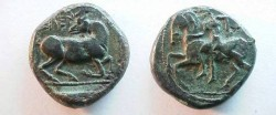 Ancient Coins - CILICIA,  Kelenderis. Circa  425-400 BC.  Fourée  Stater.Nude rider, holding  whip, riding sideways  on horse left /  Goat kneeling right.