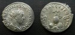 Ancient Coins - Herennius Etruscus Antoninianus.  PIETAS AVGVSTORVM, whip, ladle, jug, patera & lituus.