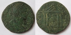 Ancient Coins - Caracalla, AD 198-217 AE 29of Pautalia, Thrace.Tetrastyle shrine with  Asclepios