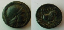 Ancient Coins - Lysimachos AE14. 297-281 BC. Young male head (Ares?) right /forepart of lion right, caduceus behind, spear head beneath.