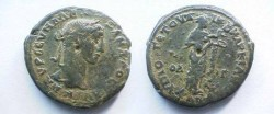 Ancient Coins - Severus Alexander AE26 of Markianopolis.  Hygeia standing right feeding snake from patera.