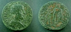 Ancient Coins - Gordian III AE35 of Tarsos. Herakles, naked, standing front with club and lion skin, apples of Hesperides in right hand, serpent entwined tree to left.