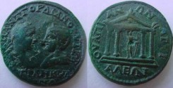 Ancient Coins - THRACE, Anchialus. Gordian and Tranquillina.Tetra stile temple containing statue of APOLO SAUROKTONOS
