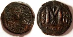Ancient Coins - Justinian I Æ Follis. 527-565 AD, Constantinople mint.ANNO XV
