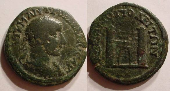 Ancient Coins - Gordian III Æ 26mm of Hadrianopolis.city gate, flanked by two towers.