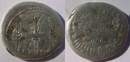 Ancient Coins - Mark Antony Legionary Denarius. 32-31 BC. Praetorian galley right / LEG III