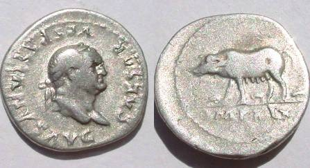 Ancient Coins - Vespasian AR Denarius. CAESAR VESPASIANVS AVG, laureate head / Sow walking left with piglets below,