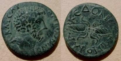 Ancient Coins - Marcus Aurelius AE24 of Roman Macedonia.  Winged thunderbolt.