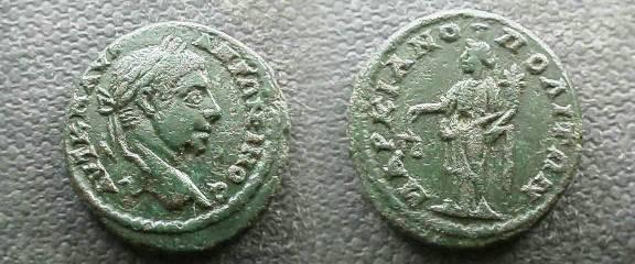 Ancient Coins - Elagabalus AE20 of Markianopolis, Moesia Inferior.  Aequitas standing left with scales & cornucopiae.