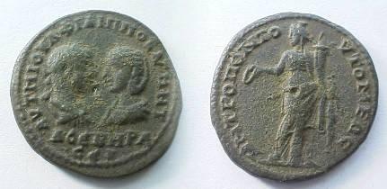 Ancient Coins - Philip I & Otacilia Severa AE28 of Tomis, Thrace.  Tyche standing left with patera & cornucopiae.