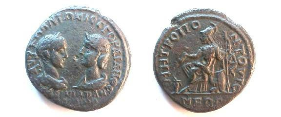 Ancient Coins - Gordian III & Tranquillina AE28 4.5-Assaria of Tomis, Moesia Inferior.  Athena sitting left on lion footed throne, holding patera, sacrificing over flaming altar