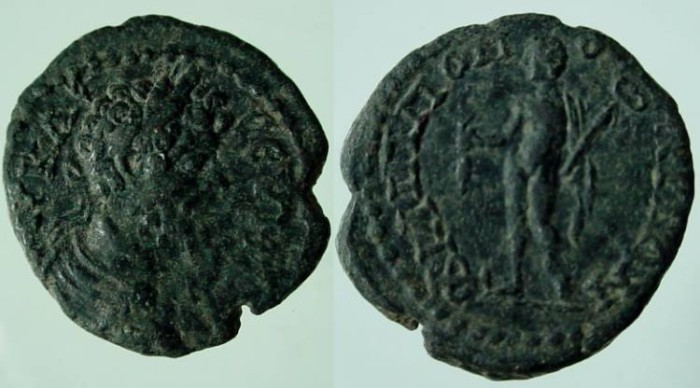 Ancient Coins - Septimius Severus AE19 of Philippopolis,.Hermes .EF WITH BEAUTIFUL  PATINA !!