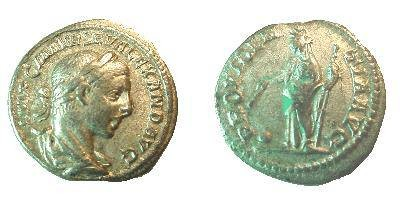 Ancient Coins - Severus Alexander Denarius.  PROVIDENTIA AVG,  Providentia standing left holding wand over globe at foot, spear in left hand.