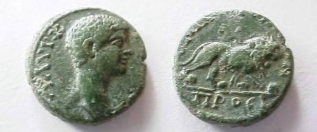 Ancient Coins -  Diadumenian? AE18 of Nikopolis ad Istrum / Lion.  Game  coin?