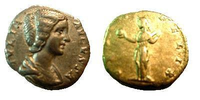 Ancient Coins - Julia Domna Denarius.  VENVS FELIX, Venus standing left holding apple and drawing out fold of drapery.