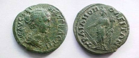 Ancient Coins - Faustina Jr AE24 of Trjanopolis, Thrace.  Fortuna standing left with tall hat, rudder and cornucopiae.