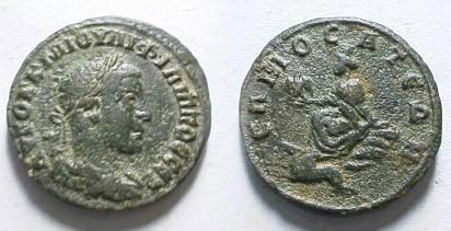 Ancient Coins - Philip Sr (or Jr?) Æ24 of Commagene, Samosata.  city-goddess seated left on rock, holding eagle, Pegasus left below.