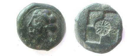 Ancient Coins - SICILY, Syracuse. Second Democracy. 466-405 BC. Head of Arethusa/ Star  in center of quadripartite incuse.