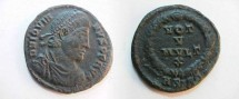 Ancient Coins - Jovian Æ3 20mm. 363-364 AD. Pearl-diademed, draped & cuirassed bust right / VOT V MVLT X,