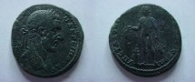 Ancient Coins - Macrinus AE27 of Nikopolis ad Istrum.  Bonus-Eventus, naked, standing left with patera and corn-ears.