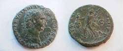 Ancient Coins - Trajan AE As.  TR POT COS II P P S-C, Victory walking left holding palm-branch & shield inscribed SPQR.