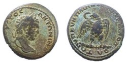 Ancient Coins - Caracalla AE28 of Markianopolis.  Eagle standing facing on a branch, head left, wreath in its beak.