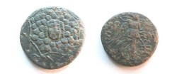 Ancient Coins - Amisos, Pontus, Æ23. Time of Mithradates VI, c. 80 BC. Gorgonian head on shieldi / Nike with thunderbolt, monograms.