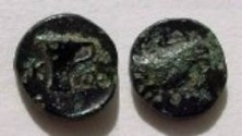 Ancient Coins - AIOLIS ,KYME.AE11,320-250 BC.Cup / Eagle's head