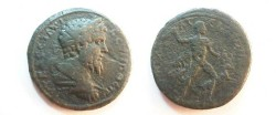 Ancient Coins - Septimius Severus AE30 / Hercules subduing hind of Ceryneia.